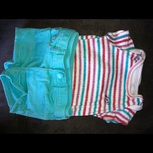 Baby gap shorts and lucky onesie size 12-18months